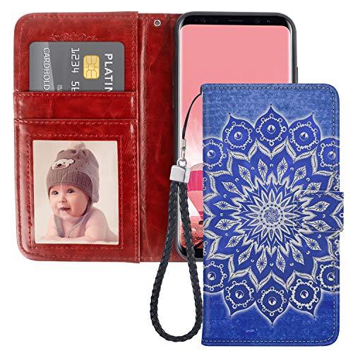 Naikuyi Funda tipo cartera con diseño de mandala azul con ranuras para tarjetas, correa de muñeca para Samsung Galaxy S8 modelo para niñas y mujeres