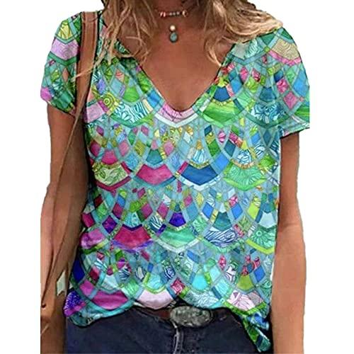 Elesoon Camiseta de verano para mujer, talla grande, manga corta, diente de león geométrico, diseño gráfico de árbol, blusa suelta, C-verde geométrico, 36