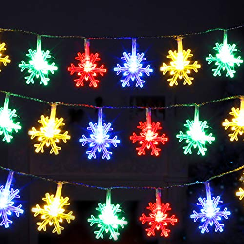 Twinkle Star 100 LED Christmas Snowflake String Lights, 49 FT Plug in Fairy Light Waterproof, Extendable for Indoor Outdoor Holiday Wedding Party, Xmas Tree, New Year, Garden Decorations, Multi-Color