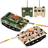 AEVVV RC Battle Tank Infrared Tanks with LED Indicators Detailed Designed Realistic - Lights & Sounds RC Tank That Shoots - Set of 2 RC Tanks That Can Shoot