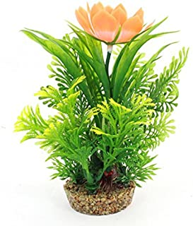 Fish Tank Decor Flor Detalhe Água Planta de vaso 17 centímetros alta Laranja Verde