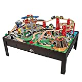 KidKraft Multi-Level Airport Express Espresso Train Set & Table, Multi-Colored Toy, Planes, Trains, Cars, Helicopters, Multiple Kids Play, Gift for Ages 3-8 46.25 x 32.5 x 15.5