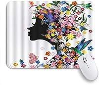 EILANNAマウスパッド 美しい少女ファッション花の装飾的な髪型の女の子と蝶の鳥 ゲーミング オフィス最適 高級感 おしゃれ 防水 耐久性が良い 滑り止めゴム底 ゲーミングなど適用 用ノートブックコンピュータマウスマット