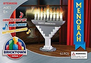 BRICKTOWN - Hanukkah Menorah with Lights and Music - Silver