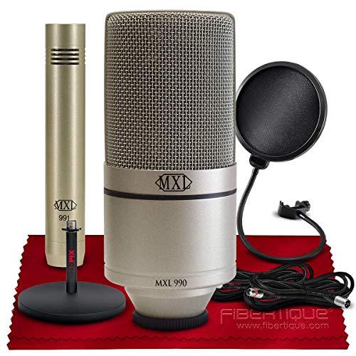 MXL 990/991 Condenser Microphone Recording Package + Xpix Desktop Stand, Xpix Pop Screen Filter, Cables, and Fibertique Microfiber Cleaning Cloth