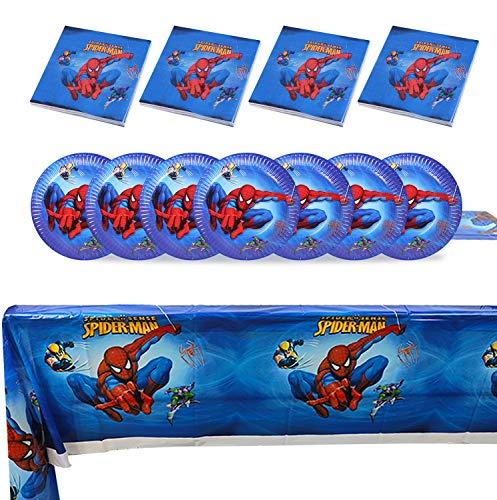 Qemsele Vajilla de cumpleaños de niños, 1 Mantel 20 Servilletas 20 Platos Desechables Fiesta Cumpleaños Decoración, Feliz cumpleaños Decoraciones Suministros Regalos Carnaval(Spiderman)