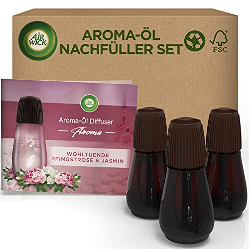 Air Wick Aroma-Öl Flakon - Duftöl Nachfüller Set für den Air Wick Diffuser - Duft: Wohltuende Pfingstrose & Jasmin - 3 x 20 ml ätherisches Öl