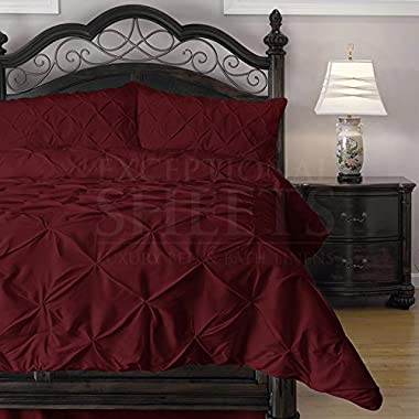 Cozy Beddings Hypoallergenic Comforter Set with Pillow Shams - 3 Piece - Decorative Pinch Pleat Pintuck - Wrinkle Resistant Microfiber with Lightweight Goose Down Alternative Fill - Queen, Red