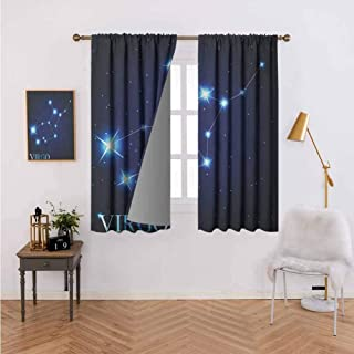 Warm Curtain Virgo Constellation Alignment of Stars Universe Themed Galactic Illustration Indigo Blue White Home Bedroom Wall Decorations 72