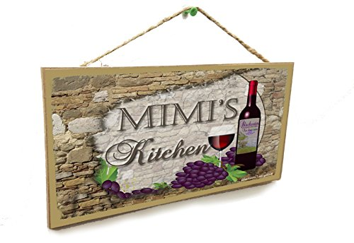 "Blackwater Trading Personalized Custom Your Name's Kitchen Italian Vintage Style Wine Sign Plaque 5""X10"""