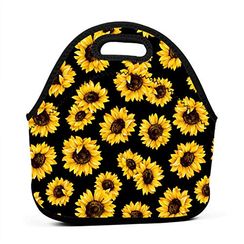Retro Sunflowers Floral Pattern Neoprene Lunch Bag Insulated Lunch Box Tote for Women Men Adult Kids Teens Boys Teenage Girls Toddler