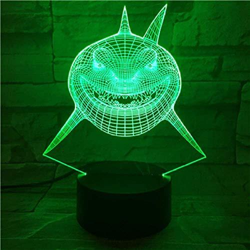 Lámpara de ilusión 3D Luz de noche Led Imaginable Visual Finding Nemo Shark Bruce Múltiples colores Decorativos alternos para niños Dormitorio de niños