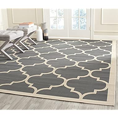Safavieh Courtyard Collection CY6914-246 Anthracite and Beige Indoor/Outdoor Area Rug (6'7  x 9'6 )