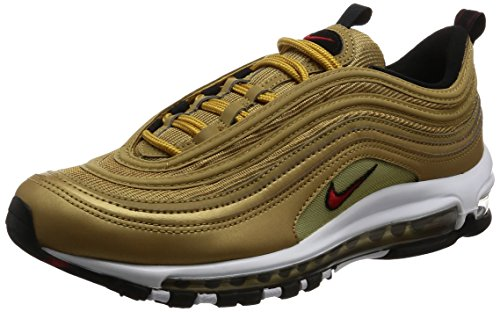 Scarpe NIKE AIR MAX 97 OG QS 'METALLIC GOLD' in oro Gold e logo rosso 884421700