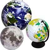 Jet Creations Inflatable Globes and Moon 3 Pack Feature Views of Planet Earth and Lunar Ground and Craters. Size Range 12 and 16 inch. JC-X0003