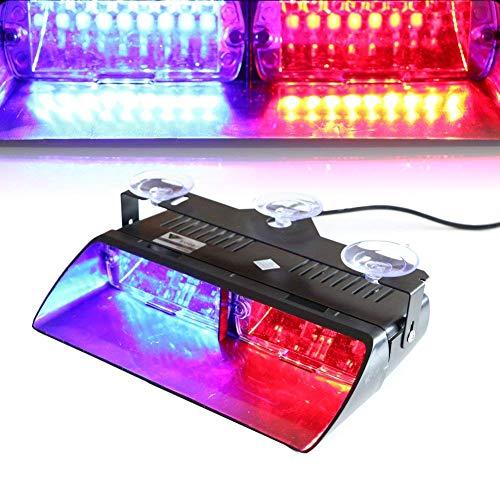 Haute intensité 16 LED Police Police d'urgence Hazard lamps Police lumière stroboscopique d'avertissement pour véhicule de voiture Truck SUV Intérieur Toit/tableau de bord/pare-brise avec ventouses