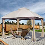 AsterOutdoor 10x12 Outdoor Gazebo for Patios Canopy for Shade and Rain with Mosquito Netting, Waterproof Soft Top Metal Frame Gazebo for Lawn, Garden, Backyard and Deck, 99% UV Rays Block (Beige)