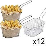 WEB2O–Juego de 12Minis cestas de Patatas Fritas Babá–Acero inonxydable–10x 8x 7cm