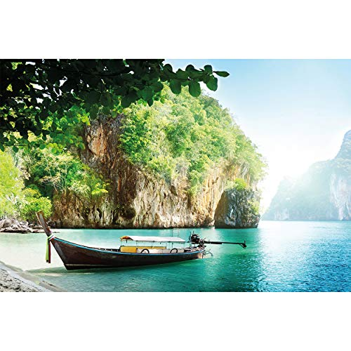 GREAT ART Fotomurale – Barca da Pesca in Baia Tropicale – XXL Decorazione da Parete Tappezzeria Paradiso Isola Mare Viaggio Vacanza Asia Carta da Parati 210 x 140 cm