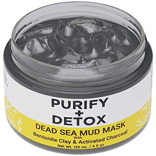 Dead Sea Mud Mask with Bentonite Clay and Activated Charcoal - NO DRYING Facial Mask to Minimize Pore, Clear Blackheads- Great for Armpit Detox too - Formulated in San Francisco
