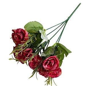 Silk Flower Arrangements Acamifashion 1pc Realistic Bouquet Fake Rose Begonia Plant Crafts Faux Flowers Arrangement Wedding Birthday Party Home Indoor Decor 10 Heads Red