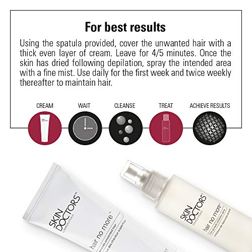 Skin Doctors Hair No More Inhibitor Pack, contains 2x hair removal cream (100ml) and 1x inhibitor spray (120ml).