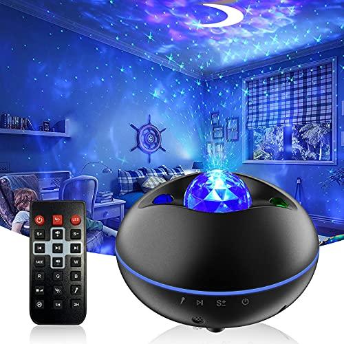 LED Proiettore del Cielo Stellato, Luci Notturne con Telecomando, Altoparlante Bluetooth, Timer, Controllo Vocale, LED Luce Rotazione Nebulosa per la Decorazione della Stanza dei Bambini per Adulti