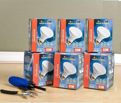 Sunbeam Mighty Bulb Indoor Floodlights 65 Watt, 6 Pack