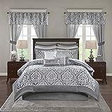 Madison Park Essentials Jordan Cozy Room in A Bag Comforter & Complete Sheet Set, Window Treatment, Luxe Jacquard Damask Print, All Season Bedding, Pillows, King(104'x92'), Grey 24 Piece