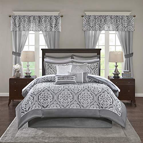 "Madison Park Essentials Jordan Cozy Room in A Bag Comforter & Complete Sheet Set, Window Treatment, Luxe Jacquard Damask Print, All Season Bedding, Pillows, King(104""x92""), Grey 24 Piece"