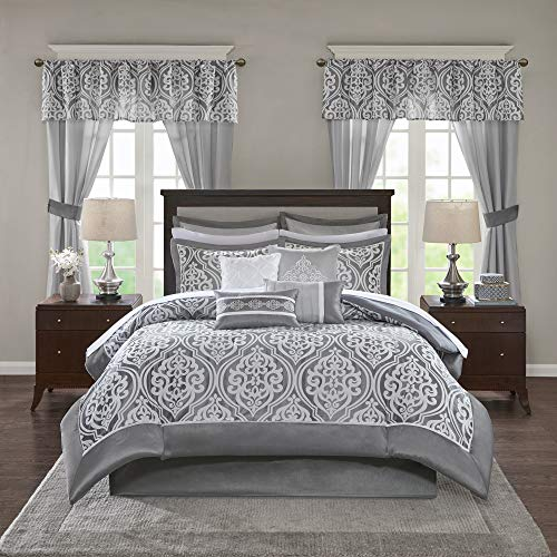 Madison Park Essentials Jordan Cozy Room in A Bag Comforter & Complete Sheet Set, Window Treatment, Luxe Jacquard Damask Print, All Season Bedding, Pillows, King(104'x92'), Grey 24 Piece