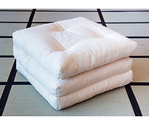 Vivere Zen - Futon Pouff - Poltrona Letto 11 cm (4 Strati Cotone) - Futon Pouff Greggio 65x195 cm