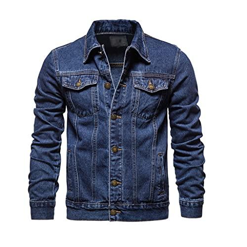 ZLDGYG Lapel Denim Jacket Men Casual Solid Color Streetwear Jeans Jacket Men Autumn Slim Fit Men's Jackets (Color : C, Size : Asia 5XL 92-100 kg)