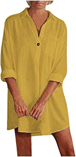 Womens Solid Long Sleeve Button V Neck Loose Long Shirt Pullover Tops Blouse