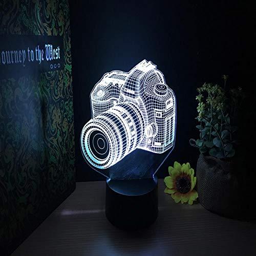 Yujzpl 3D-Illusionslampe LED-Nachtlicht, USB-betrieben 7 Farben blinkend Touch-Schalter Schlafzimmer Dekoration für Kinder Weihnachtsgeschenk[Energieklasse A +++]-Kamera