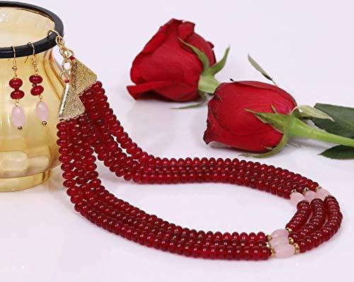 Divine Products India Tripple Line Maroon Quartz Necklace Set