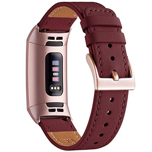 WFEAGL Armband Kompatibel für Fitbit Charge 3 Armband/Fitbit Charge 4 Armband Leder, Klassisch Einstellbares Ersatzarmband Sport Kompatibel für Fitbit Charge 3/4(Wein+Roségold Adapter)