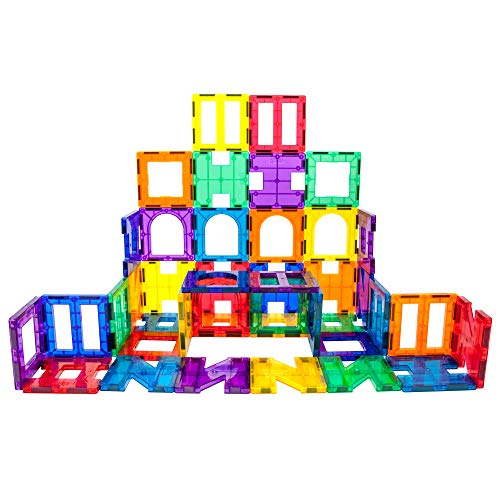 PicassoTiles 42 Piece Set Magnet Building Tiles 6 Different Shapes PT42