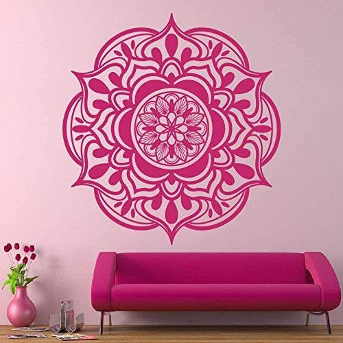 Pegatina De Pared Boho Style Mandala Flower Tatuajes De Pared Vinilo Yoga Decoración Para El Hogar Mural Rojo 57X60Cm