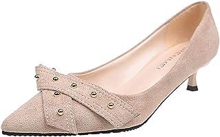 Solike Escarpins Femme Sexy Kitten-Heel 6 CM - Bride Cheville Escarpin avec Noeud Pointu Fermeture Bout - Chaussures Sanda...