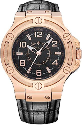 Timothy Stone Mann Uhren Manis Analog Quarz Armbanduhr, Farbe roségold Leder schwarz