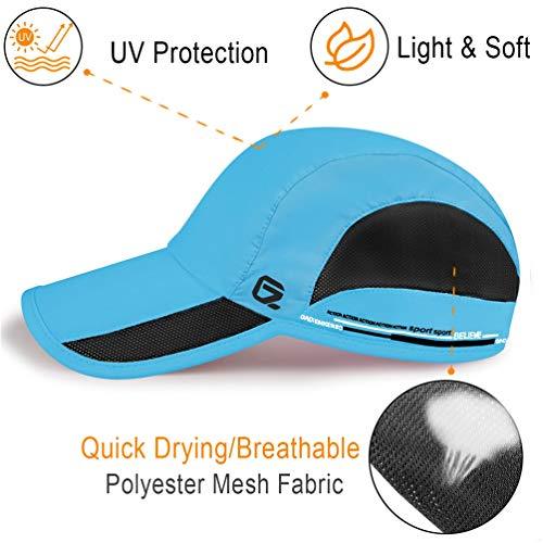 GADIEMKENSD Quick Dry Sports Hat Lightweight Breathable Soft Outdoor Running Cap Baseball Caps for Men (Sky Blue) - 3