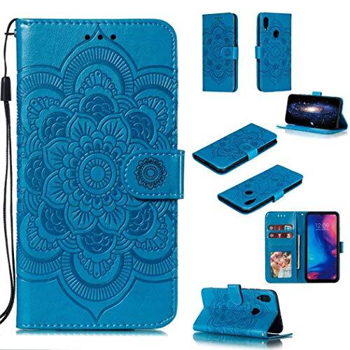 Guran PU Pelle Portafoglio Magnetica Flip Custodia per Xiaomi Redmi Note 7 Smartphone Avere Slot Schede Stent Funzione Goffratura Mandala Antiurto Caso - Blu