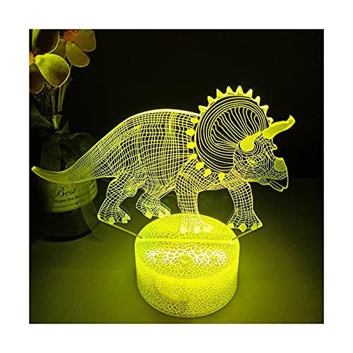 HOKVJ 3D Luz Nocturna Dinosaurio Serie Escritorio Lámpara16color Touch Control Remoto Dibujos...