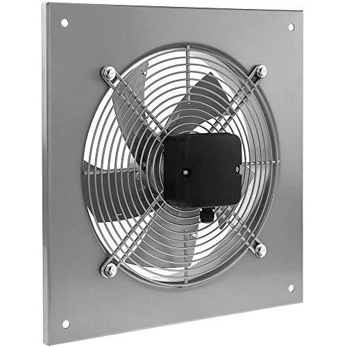 PrimeMatik - Extractor de Aire de Pared de 300 mm para ventilación Industrial 2550 RPM Cuadrado 430x430x64 mm Plateado