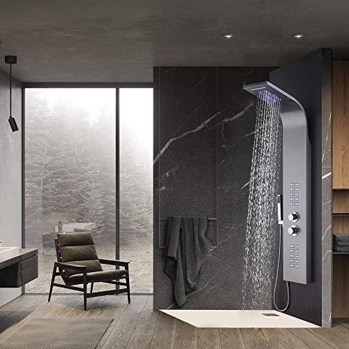 LIMQ douchepaneel roestvrij staal met thermostaat 4 douchefuncties, badkamer douchesysteem met regendouche en handdouche