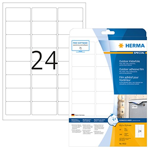 HERMA 9532 Wetterfeste Folien-Etiketten DIN A4 (63,5 x 33,9 mm, 10 Blatt, Polyethylen, matt) selbstklebend, bedruckbar, extrem stark haftende Outdoor Klebefolie, 240 Klebeetiketten, weiß