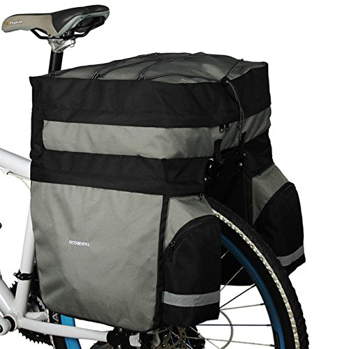 Roswheel 3 in 1 60L MTB Bicycle Carrier Bag, Rear Rack Bike Trunk Bag Luggage Pannier Back Seat Double Side Cycling Bycicle Bag 14590 with Rain Cover - Black Grey