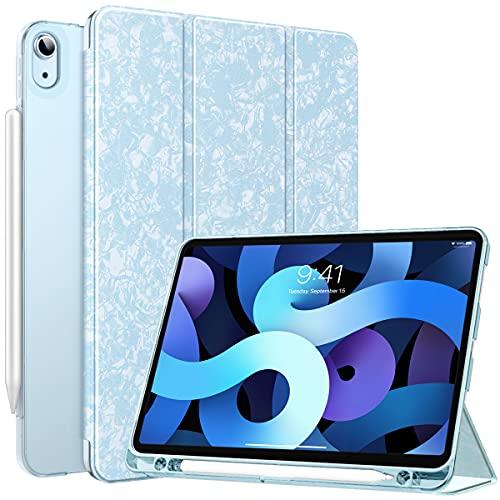 MoKo Funda Compatible con iPad Air 4ta Generación 2020 iPad 10.9 2020 Tableta, Funda de Cubierta Inteligente con Soporte Pencil y Carcasa Trasera de TPU Translúcido, Azul Cielo Moteado