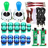 Avsiri 2 Player LED Arcade DIY Parts 2X USB Encoder + 2X Ellipse Oval Style Joystick + 20x LED Arcade Buttons for PC MAME Raspberry Pi Windows (Green & Blue Kit)